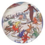 Vintage Ski Poster, Arlberg, St Anton Dinner Plate