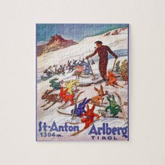 Vintage Ski Poster, Arlberg, St Anton Jigsaw Puzzle