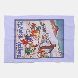 Vintage Ski Poster, Arlberg, St Anton Kitchen Towel
