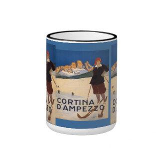 Vintage Ski Poster, Cortina d'ampezzo,  Italy Ringer Mug