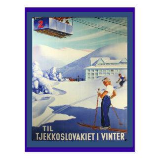 Vintage Ski Poster, Czeuchoslavakia in winter Post Cards