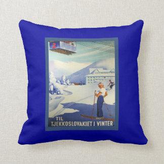 Vintage Ski Poster, Czeuchoslavakia winter sports Pillows