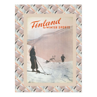 Vintage Ski Poster,  Finland for winter sports Postcard