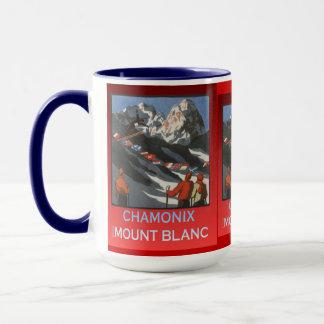 Vintage Ski Poster, France, Chamonix, Mt Blanc Mug