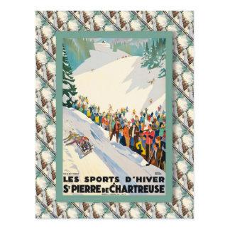 Vintage Ski Poster, France,St Pierre de Chartreuse Postcard