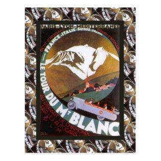 Vintage Ski Poster France Tour de Mt Blanc Postcard