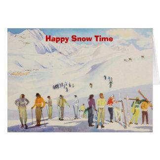 Vintage ski poster,   Happy Snow time Card