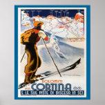 Vintage Ski Poster, Italy, Dolomites Cortina