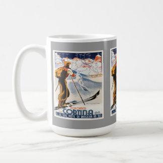 Vintage Ski Poster, Italy, Dolomites Cortina Coffee Mug