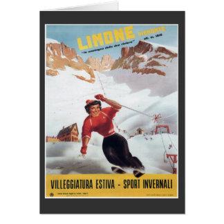 Vintage Ski Poster,  Italy, Limone Card