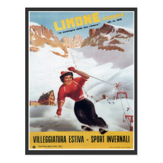 Vintage Ski Poster,  Italy, Limone Post Cards