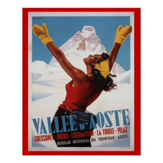 Vintage Ski Poster,  Italy, Val d'Aosta Poster