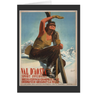 Vintage Ski Poster,  Italy, Val d'Aosta Card