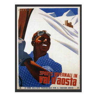 Vintage Ski Poster,  Italy, Val d'Aosta Postcard