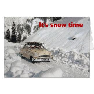 Vintage ski poster,   It's snowtime! Card