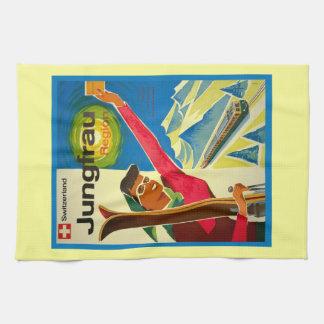 Vintage ski poster, Jungfrau region, Switzerland Hand Towel