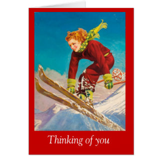 Vintage Ski Poster, Lady downhill skier Greeting Cards