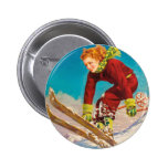 Vintage ski poster, lady ski jumper 2 inch round button