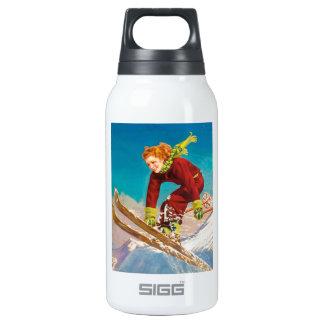 Vintage ski poster, lady ski jumper insulated water bottle