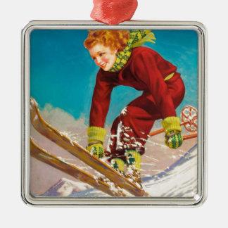 Vintage ski poster, lady ski jumper metal ornament