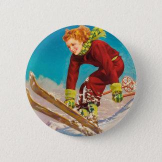 Vintage ski poster, lady ski jumper pinback button