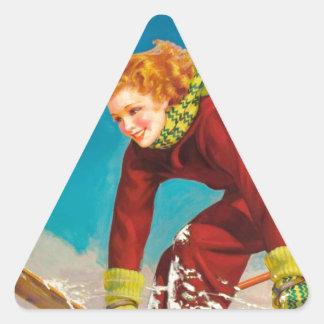 Vintage ski poster, lady ski jumper triangle sticker