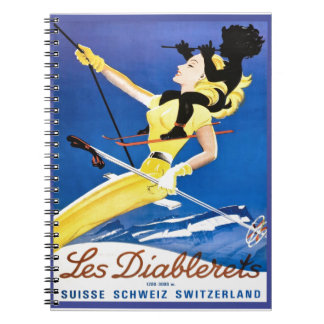 Vintage Ski poster, Les Diablerets, Switzerland Spiral Note Books