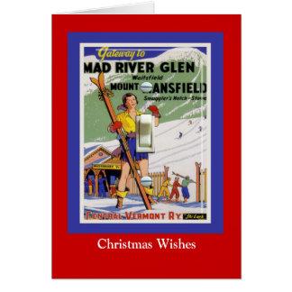 Vintage Ski Poster, Mad River Glen, Vermont Card