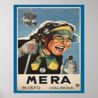 Vintage Ski poster,   Mera, Valsesia Poster