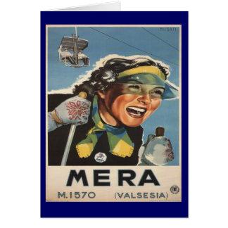 Vintage Ski poster,   Mera, Valsesia Card