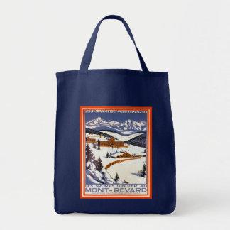 Vintage ski poster,   Mont revard, France Tote Bag