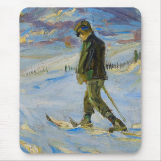 Vintage Ski poster,  Nordic skiing Mouse Pad