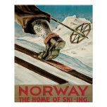 Vintage Ski poster, Norway, the home of skiing