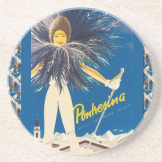 Vintage Ski poster Pontresina Coasters