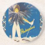 Vintage Ski poster, Pontresina Coasters