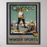 Vintage Ski Poster,  Quebec for winter sports