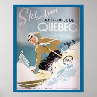 Vintage Ski Poster Quebec for winter sports