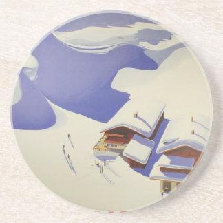 Vintage Ski Poster, Ski Austria Coaster