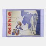 Vintage Ski Poster, Ski Austria Hand Towel