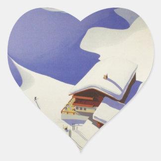 Vintage Ski Poster, Ski Austria Heart Sticker