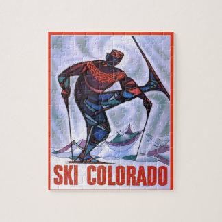 Vintage ski poster, Ski Colorado Jigsaw Puzzle