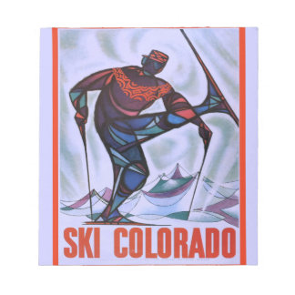 Vintage ski poster, Ski Colorado Notepad