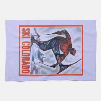 Vintage ski poster, Ski Colorado Towels