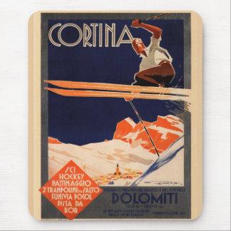 Vintage Ski Poster, Ski Cortina, Italy Mouse Pad