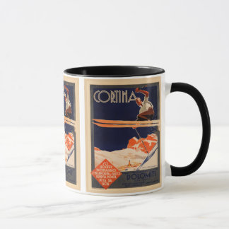 Vintage Ski Poster, Ski Cortina, Italy Mug