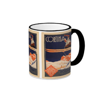 Vintage Ski Poster, Ski Cortina, Italy Ringer Coffee Mug