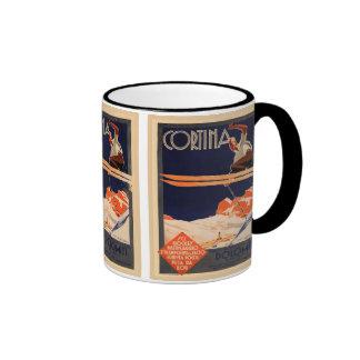 Vintage Ski Poster, Ski Cortina, Italy Ringer Mug
