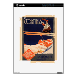 Vintage Ski Poster, Ski Cortina, Italy Decals For iPad 2