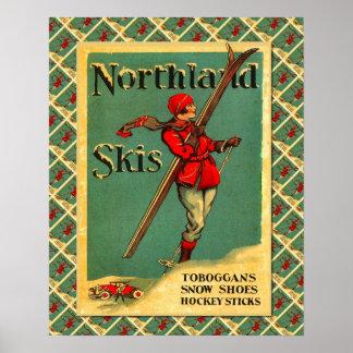 Vintage Ski poster, Ski equipment  Neuchatel