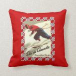 Vintage Ski Poster, Ski in Canada Pillows